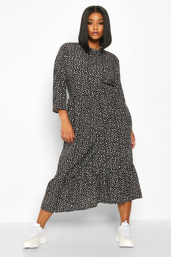 Womens Black Plus Polka Dot Ruffle Hem Midi Dress