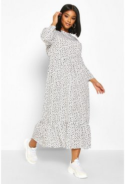 Womens White Plus Polka Dot Ruffle Hem Midi Dress