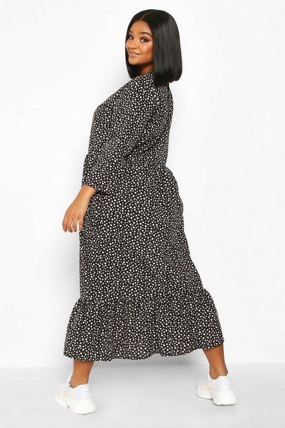 Plus Polka Dot Ruffle Hem Midi Dress