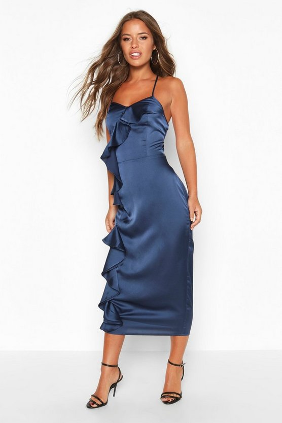 Petite Frill Detail Satin Cami Slip Dress