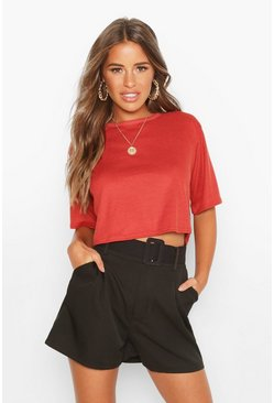 Womens Rust Petite Ribbed Boxy Crop T-Shirt
