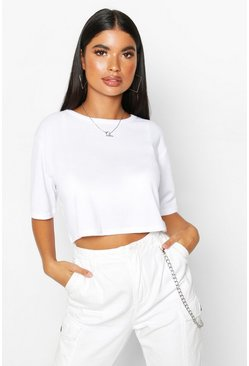 White Petite Ribbed Boxy Crop T-Shirt