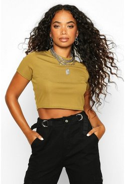 Womens Olive Petite Ribbed Basic T-Shirt