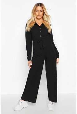 Womens Black Petite Button Up Drawstring Jumpsuit