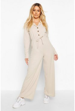 Womens Stone Petite Button Up Drawstring Jumpsuit