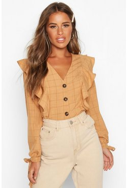Womens Terracotta Petite Button Up Frill Check Blouse
