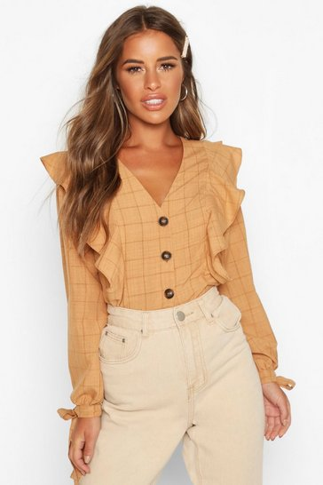 Terracotta Petite Button Up Frill Check Blouse