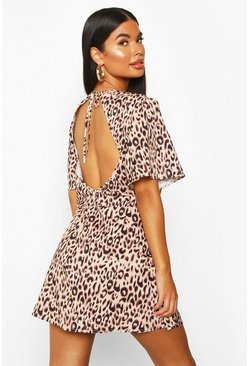 Womens Petite Natural Leopard Backless Skater Dress