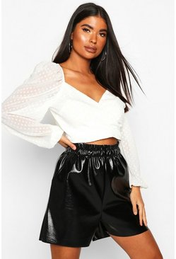 Womens White Petite Wrap Dobby Sleeve Top