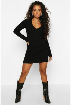 Black Petite Rib V-Neck Basic Jumper Dress
