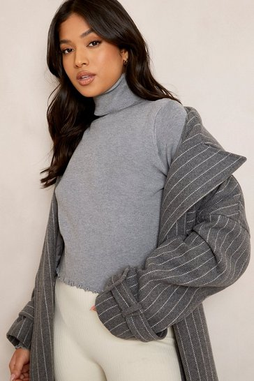 Grey Petite Knitted Rib Lettuce Hem Roll Neck Jumper