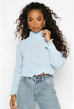 Pale blue Petite Knitted Rib Lettuce Hem Roll Neck Jumper
