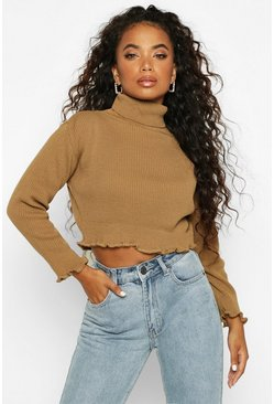 Toffee Petite Knitted Rib Lettuce Hem Roll Neck Sweater