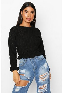 Black Petite Textured Frill Hem Knitted Jumper