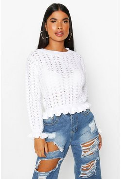 Womens White Petite Textured Frill Hem Knitted Jumper
