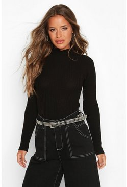 Black Petite Rib Knitted Lettuce High Neck Jumper
