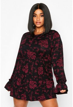 Black Plus Dark Floral Long Sleeve Smock Dress