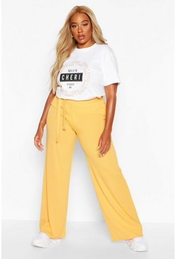 Womens Mustard Plus Ribbed High Waisted Paperbag Trouser