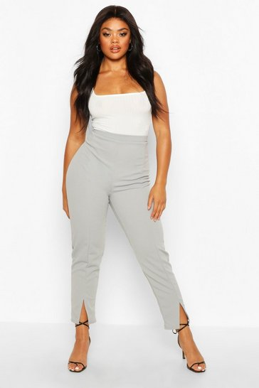 Grey Plus Seamed Front Split High Waisted Trousers