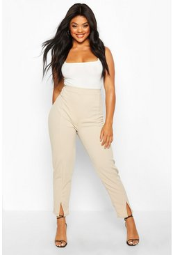 Stone Plus Seamed Front Split High Waisted Trousers