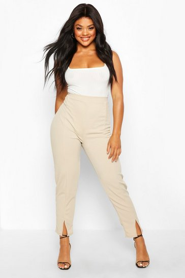 Womens Stone Plus Seamed Front Split High Waisted Trousers