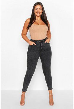 Plus High-Waisted Skinny Jean, Grau