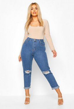 Plus High-Waist Mom-Jeans mit zerrissenen Knien, Mid blue