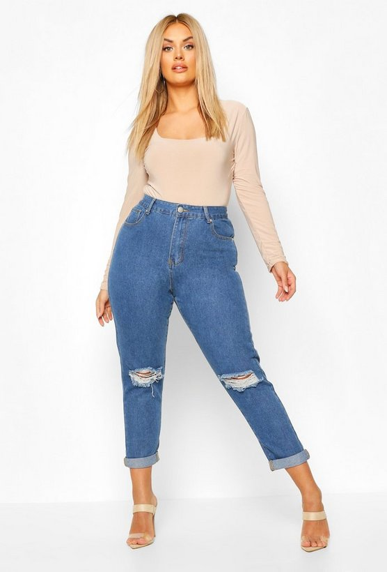 Plus High Waist Rip Knee Mom Jean