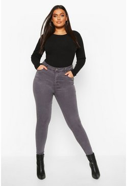 Grey Plus 5 Pocket Stretch High Waist Skinny Jeans