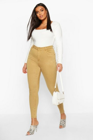 Khaki Plus Pocket Stretch High Waist Skinny Jean
