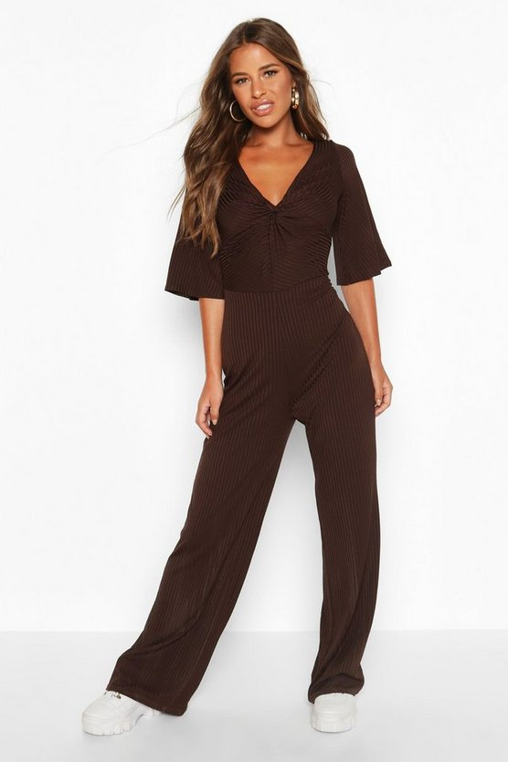 Chocolate Petite Twist Front Culotte Ribbed Jumpsuit