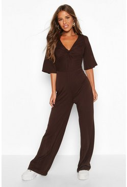 Womens Chocolate Petite Twist Front Culotte Ribbed Jumpsuit