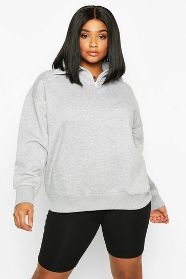 Womens Grey Plus Funnel Neck Zip Oversized Sweat