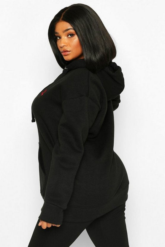 Plus Embroided Rose Oversized Hoody