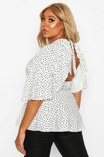 White Plus Polka Dot Ruffle Sleeve Peplum Top
