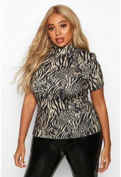 Womens Camel Plus Animal Print Rib Turtleneck Short Sleeve Top