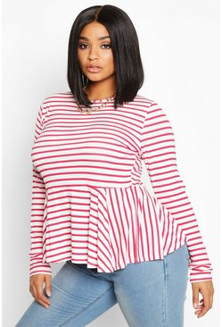 Berry Plus Stripe Peplum Top