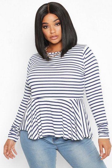 Womens Navy Plus Stripe Peplum Top