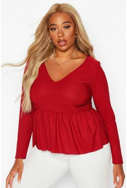 Berry Plus V Neck Long Sleeve Smock Top