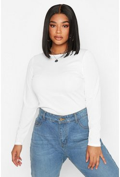 White Plus Rib Crew Neck Long Sleeve Top