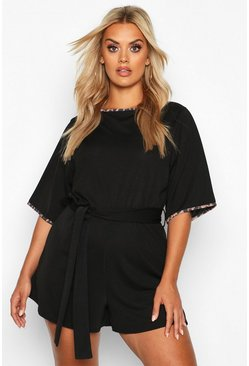 Dam Black Plus Leopard Ringer Self Belt Playsuit