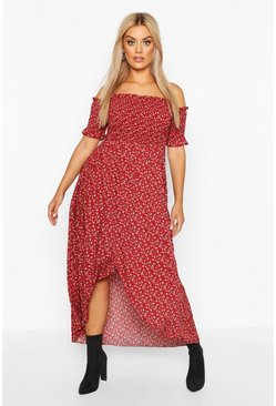 Womens Berry Plus Ditsy Off Shoulder Maxi Dress