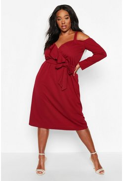 Womens Berry Plus Plunge Ruffle Belted Longs Sleeve Midi Dress