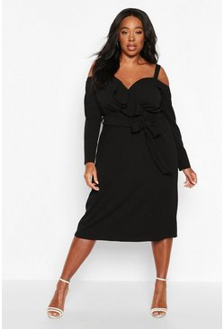 Black Plus Plunge Ruffle Belted Longs Sleeve Midi Dress