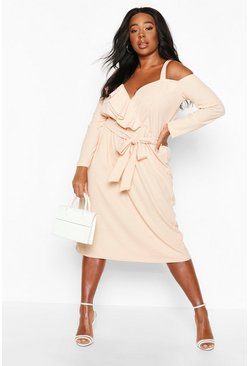 Blush Plus Plunge Ruffle Belted Longs Sleeve Midi Dress
