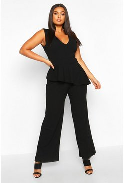 Womens Black Plus Plunge Peplum Sleeveless Wide Leg Jumpsuit