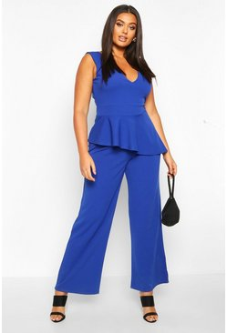 Womens Cobalt Plus Plunge Peplum Sleeveless Wide Leg Jumpsuit