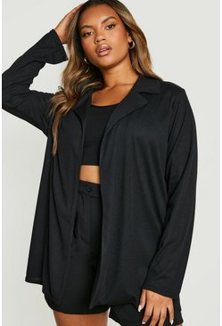 Womens Black Plus Textured Rib Blazer