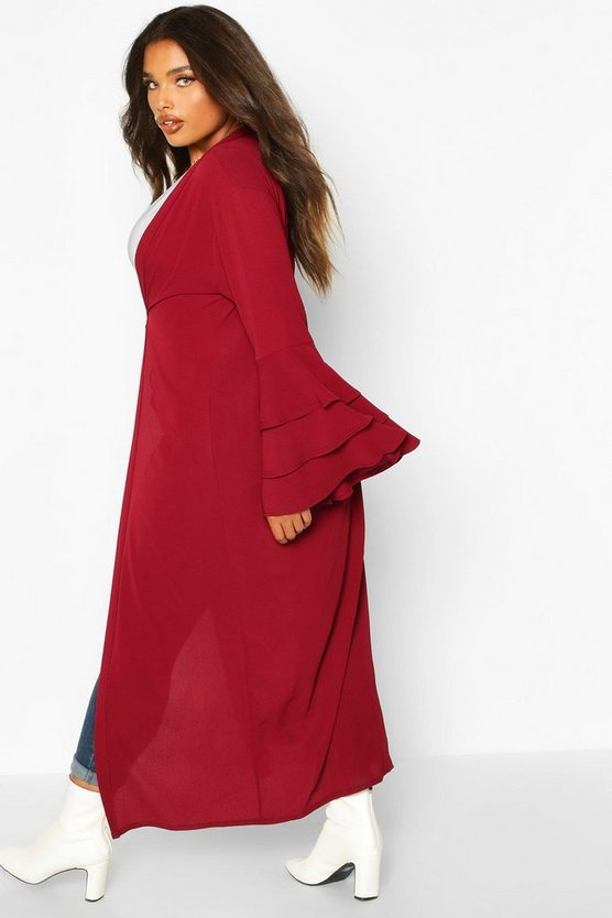 Plus Ruffle Sleeve Maxi Chiffon Kimono