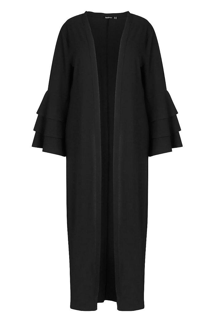 Plus Lång kimono i chiffong med volangärm